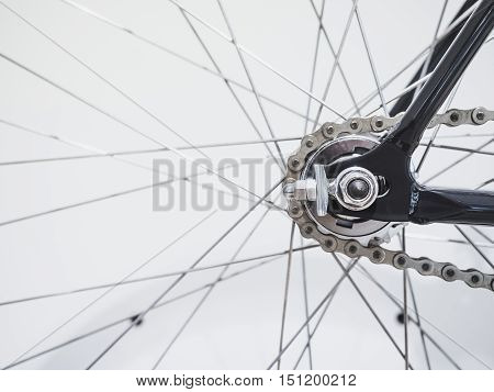 Bicycle Wheel Spoke and Chain details Black and white