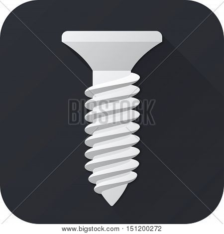 Vector illustration. Toy screw in flat design with long shadow. Square shape icon in simple design. Icon vector size 1024 corner radius 180