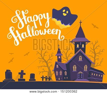 Vector Halloween Illustration Of Haunted House, Cemetery, Bats On Orange Background With Trees, Text