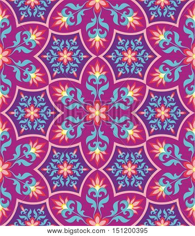 Arabesque. Red Pattern in Moorish style. Arab seamless texture. Element of design. Islamic  background. Oriental ornament