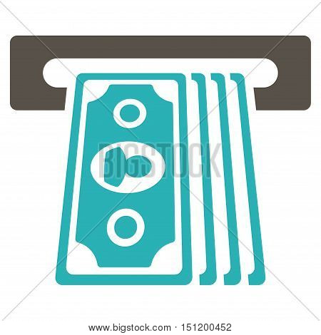 Cashpoint Terminal icon. Glyph style is bicolor flat iconic symbol with rounded angles, grey and cyan colors, white background.