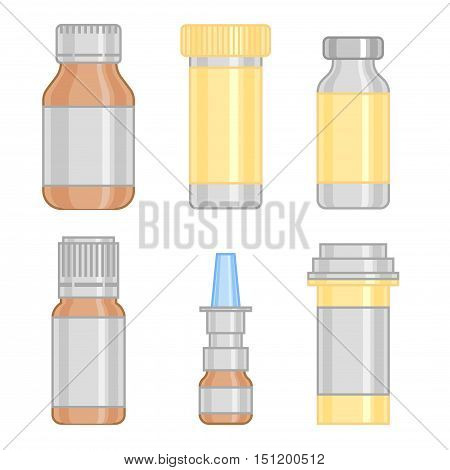 Medicine bottle, colorful bottles, bottle collection. Bottles for drugs, bottle tablets, bottle capsules and bottle sprays. Hospital bottle equipment. Vector illustration bottle on gray background