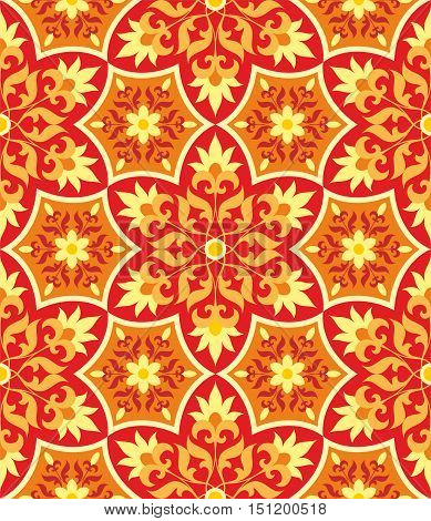 Arabesque.Orange Pattern in Moorish style. Arab seamless texture. Element of design. Islamic  background. Oriental ornament