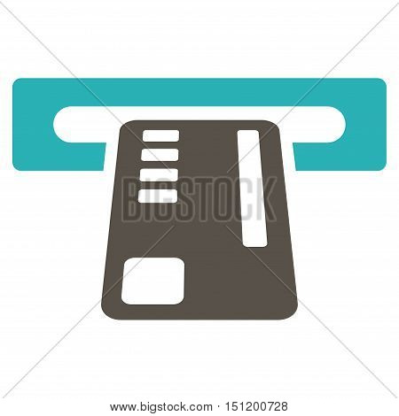 Ticket Machine icon. Glyph style is bicolor flat iconic symbol with rounded angles, grey and cyan colors, white background.