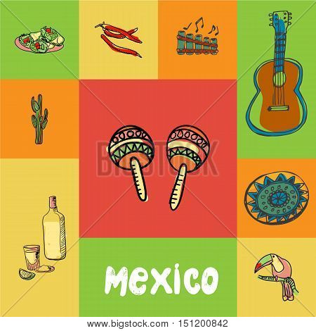 Mexico checkered concept in national colors. Maracas, guitar, folk flute, chilli pepper, burritos, cactus, tequila, toucan, ornament hand drawn vector icons. Country related doodle symbols and text