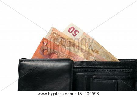 Wallet with Euro banknotes isolated  on a white background