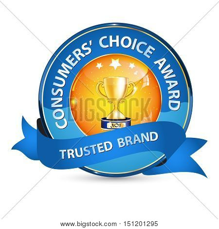 Consumers' Choice award, Trusted brand - elegant business glossy icon / label / ribbon with champion cup