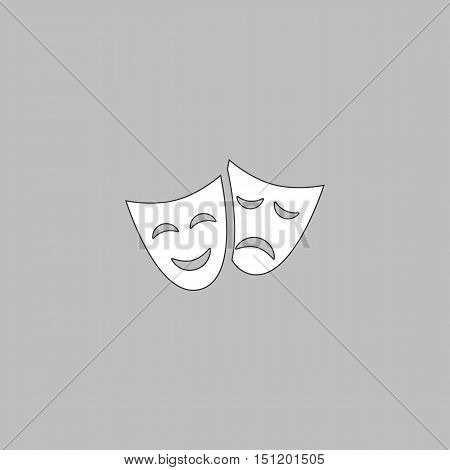 masks Simple line vector button. Thin line illustration icon. White outline symbol on grey background