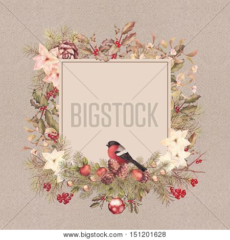 Christmas vintage watercolor decorative frame. Holiday greeting card. Bird bullfinch, poinsettia flowers with Rowan and Holly branch