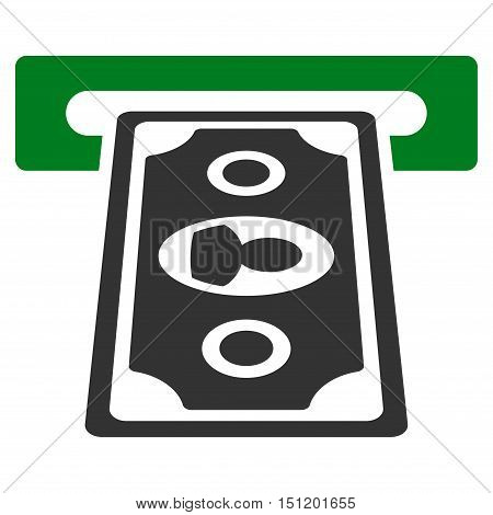Cashpoint Terminal icon. Glyph style is bicolor flat iconic symbol with rounded angles, green and gray colors, white background.