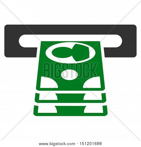 Cashpoint icon. Glyph style is bicolor flat iconic symbol with rounded angles, green and gray colors, white background.