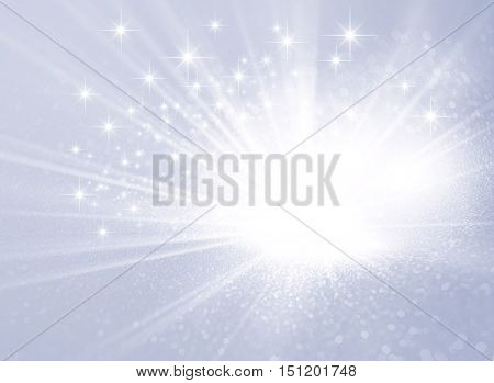 Glittering silver background with stars and light explosion