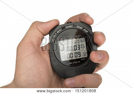 Close Up Of Hand Holding Digital Stopwatch on White Background