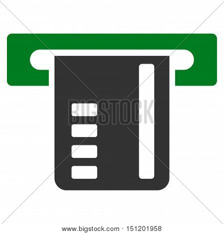 Ticket Terminal icon. Glyph style is bicolor flat iconic symbol with rounded angles, green and gray colors, white background.