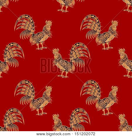 Fiery red rooster Zodiac sign 2017. Seamless pattern. Embossing gold foil red background. Design for packing Christmas gifts. Concept New Year symbols. Vector illustration paper fabrics textiles.