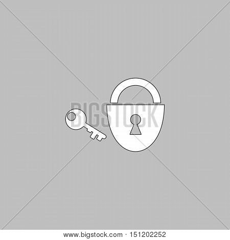 Padlock and key Simple line vector button. Thin line illustration icon. White outline symbol on grey background