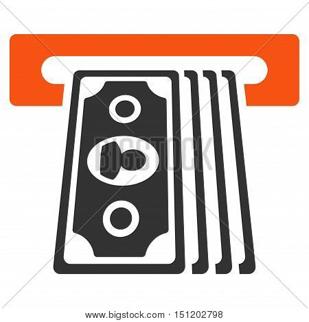 Cashpoint Terminal icon. Glyph style is bicolor flat iconic symbol with rounded angles orange and gray colors white background.