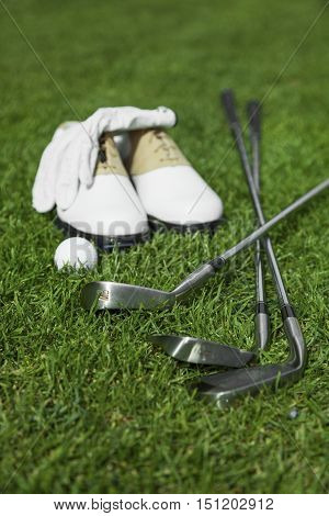 Golf Glove, Ball, Clubs and Shoes on Golf Course