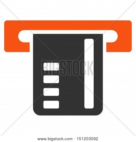 Ticket Terminal icon. Glyph style is bicolor flat iconic symbol with rounded angles orange and gray colors white background.
