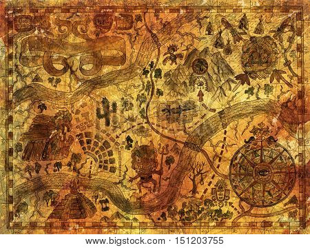 Hand drawn treasures island map on ancient paper parchment. Vintage pirate adventures and mayan or aztecs treasure hunt concept. Drawings of wind compass and antique symbols in American Indian style