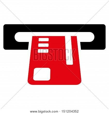 Ticket Terminal icon. Glyph style is bicolor flat iconic symbol with rounded angles, intensive red and black colors, white background.