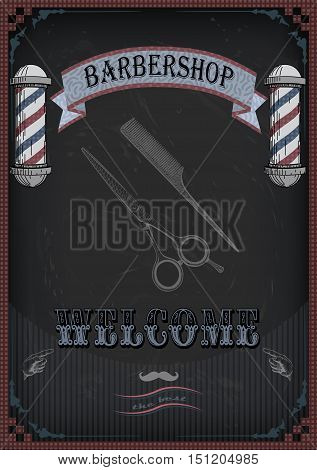 Frame border scissors shears shear comb sign shingle for barber haircutter vintage retro inscription barbershop. Vector vertical closeup top view beautiful old school barber's salon signboard