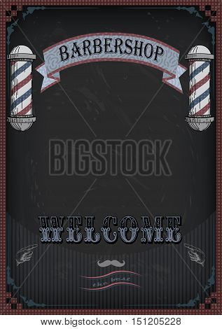 Vector vertical closeup front view beautiful old school signboard barber's salon