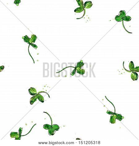 Seamless pattern with watercolor and ink drawing trefoil leaves of clover, painted color floral ornament, hand drawn natural illustration