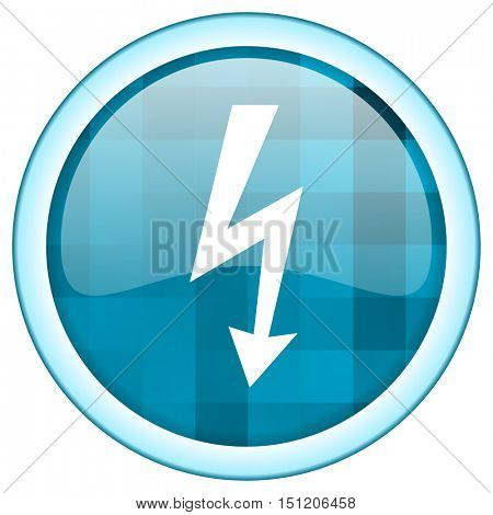 Blue circle vector bolt icon. Round internet glossy power button. Web design graphic element.