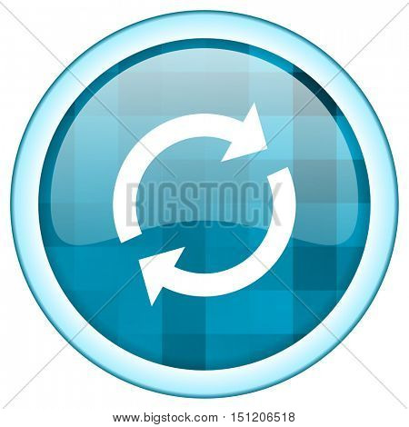 Blue circle vector reload icon. Round internet glossy refresh button. Web design graphic element.