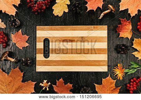 Border frame of fall leaves and fruit. Flat lay