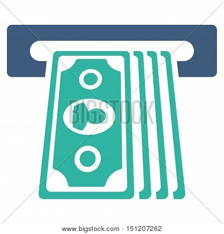Cashpoint Terminal icon. Glyph style is bicolor flat iconic symbol with rounded angles cobalt and cyan colors white background.