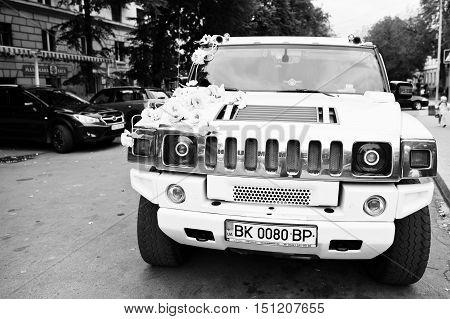 Tarnopol, Ukraine - October 09, 2016: White Luxury Limousine Hummer H2