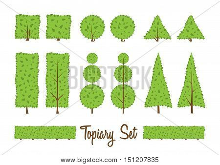 Topiary set. Different basic shape of bushes trees. Green and brown trees. Square circle triangle shrub. Landscape design gardening park. Simple forms. Vector bushes elements on white background.