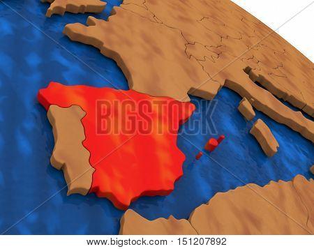 Spain On Wooden Globe