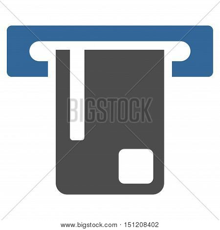Bank ATM icon. Glyph style is bicolor flat iconic symbol with rounded angles, cobalt and gray colors, white background.
