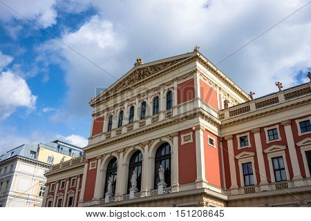 Wiener Musikverein concert hall and landmark of Vienna with the famous golden hall