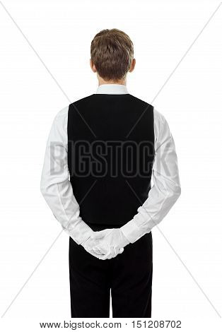 Rear View Of Young Confident Waiter