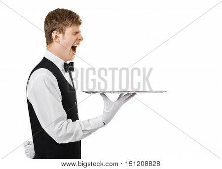Bored Yawning Waiter Holding Empty Tray