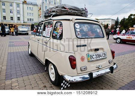 Tarnopol, Ukraine - October 09, 2016: Classic Retro Car Renault 4 L, Produced By The French Automake