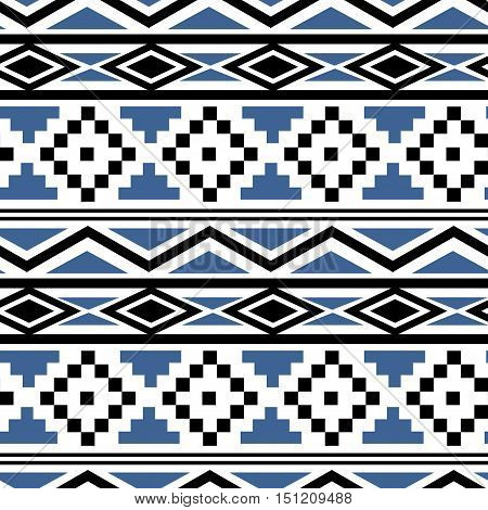 Aztec Essence tribal seamless pattern. Ethnic Navajo style - blue and black ornament on a white background
