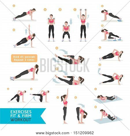 Woman workout fitness aerobic and exercises. Vector Illustration.