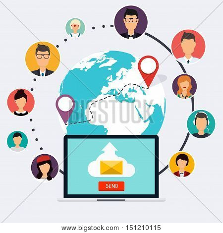 Running campaign email advertising direct digital marketing. Set of people avatars and icons. Flat design style modern vector illustration concept.