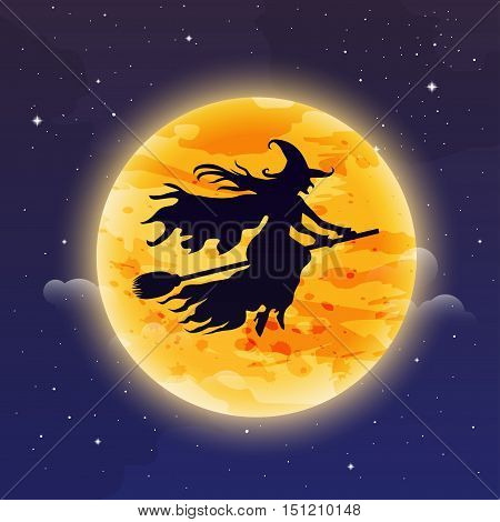 Witch Flying On Broomstick. Halloween Background. Witch Silhuette Flying In Front Of The Moon.