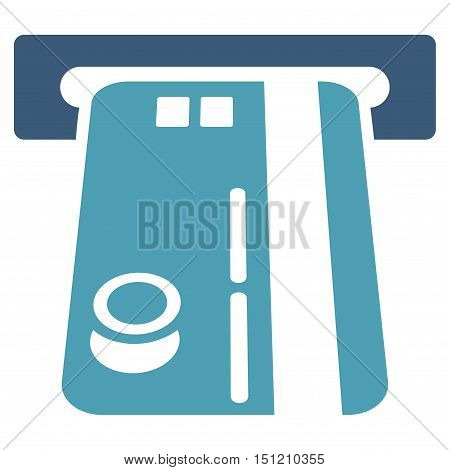 Bank ATM icon. Glyph style is bicolor flat iconic symbol with rounded angles, cyan and blue colors, white background.