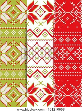 Set of bright Christmas pixel patterns. Styling Scandinavian embroidery. Knitted winter background.  Ideal for Christmas background, greeting cards, invitations.