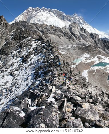 view from kongma la pass - sagarmatha national park trek to Everest base camp and three passes - Nepal
