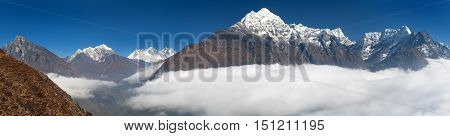 view of Mount Kangtega Thamserku Everest and Lhotse from Kongde - Sagarmatha national park - Nepal