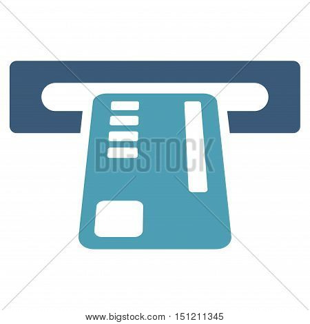 Ticket Machine icon. Glyph style is bicolor flat iconic symbol with rounded angles, cyan and blue colors, white background.