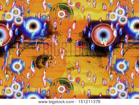 Multicolored improbable spotted abstract background with eye pupil shapes.Digitally altered image.